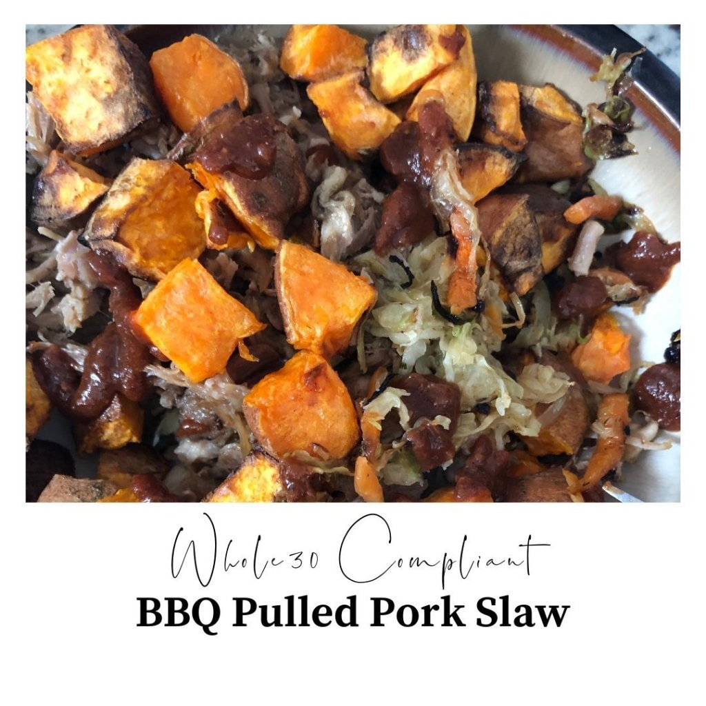 Pulled pork, cooked cole slaw, chopped sweet potatoes, with bbq sauce.