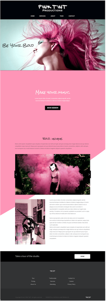 Brand x Web Design for Pink Tint - Full website