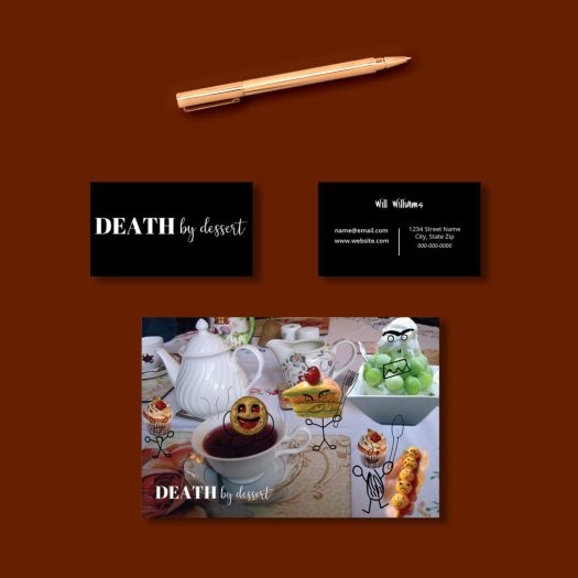 Death by dessert business cards and direct mailer