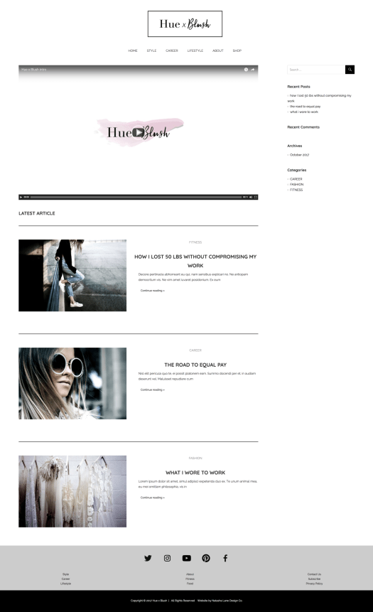 Brand x Web Design for Hue x Blush website