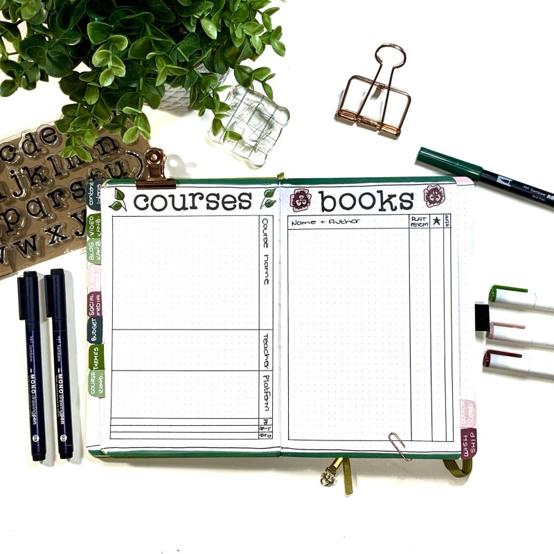 Bullet Journal Setup: Courses and Books Layout