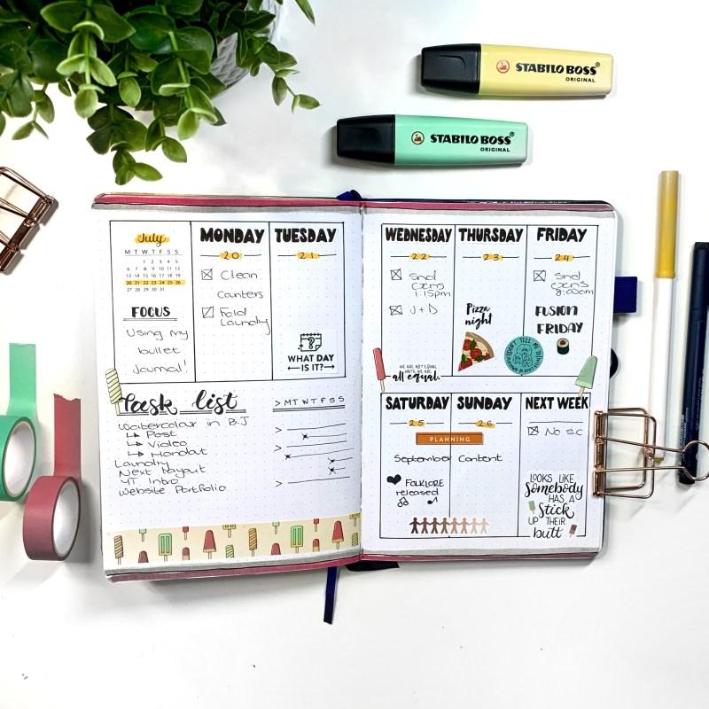 Vertical Bullet Journal Layout Ideas