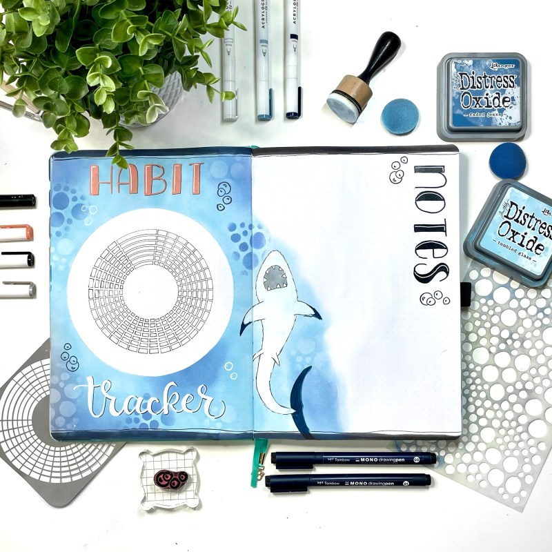 Blended August Habit Tracker Page