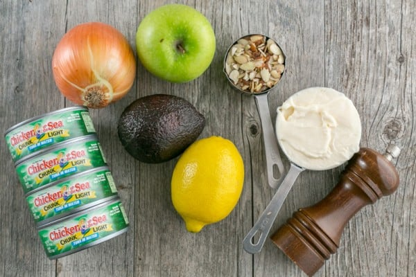 Ingredients for tuna salad: think of apples, almonds and avocado