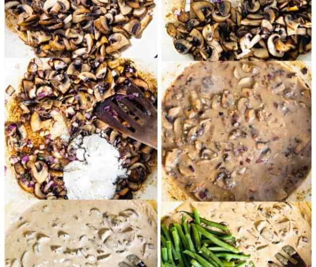 Process Images Of Green Bean Casserole Recipe Making