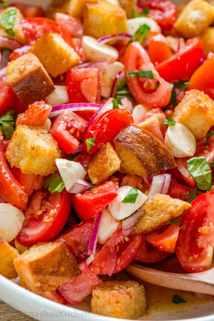Bread Salad with Tomatoes in Bowl