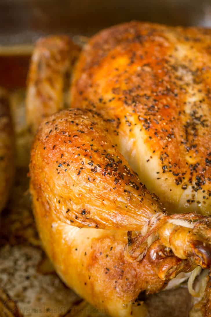 Roasted chicken baked to the perfect temperature
