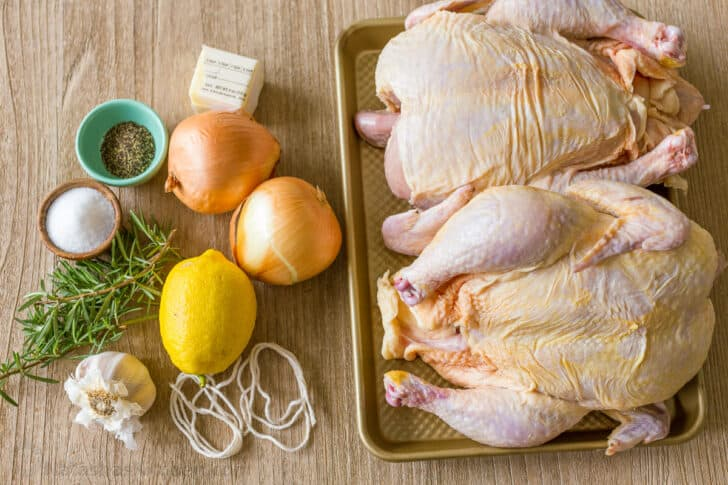 Ingredients for stuffing and seasoning whole roasted chicken