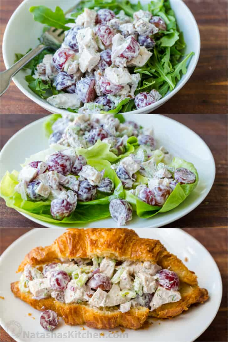 Serving suggestions for chicken salad mix over lettuce, salad cups and crossants