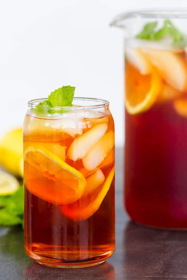 Iced tea served in a glass with ice