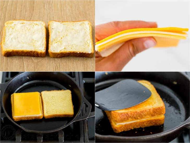 Step by step how to make a grilled cheese sandwich