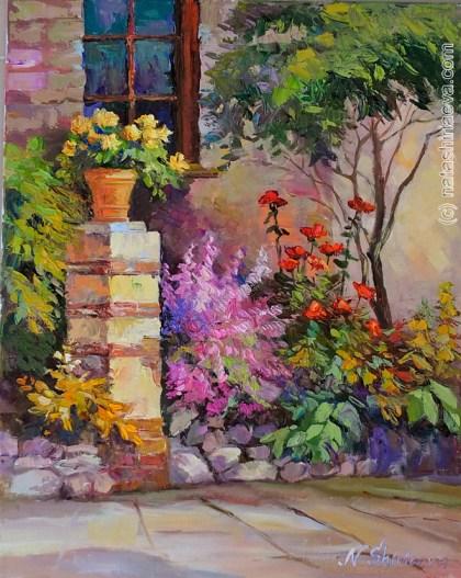 картина маслом сад
