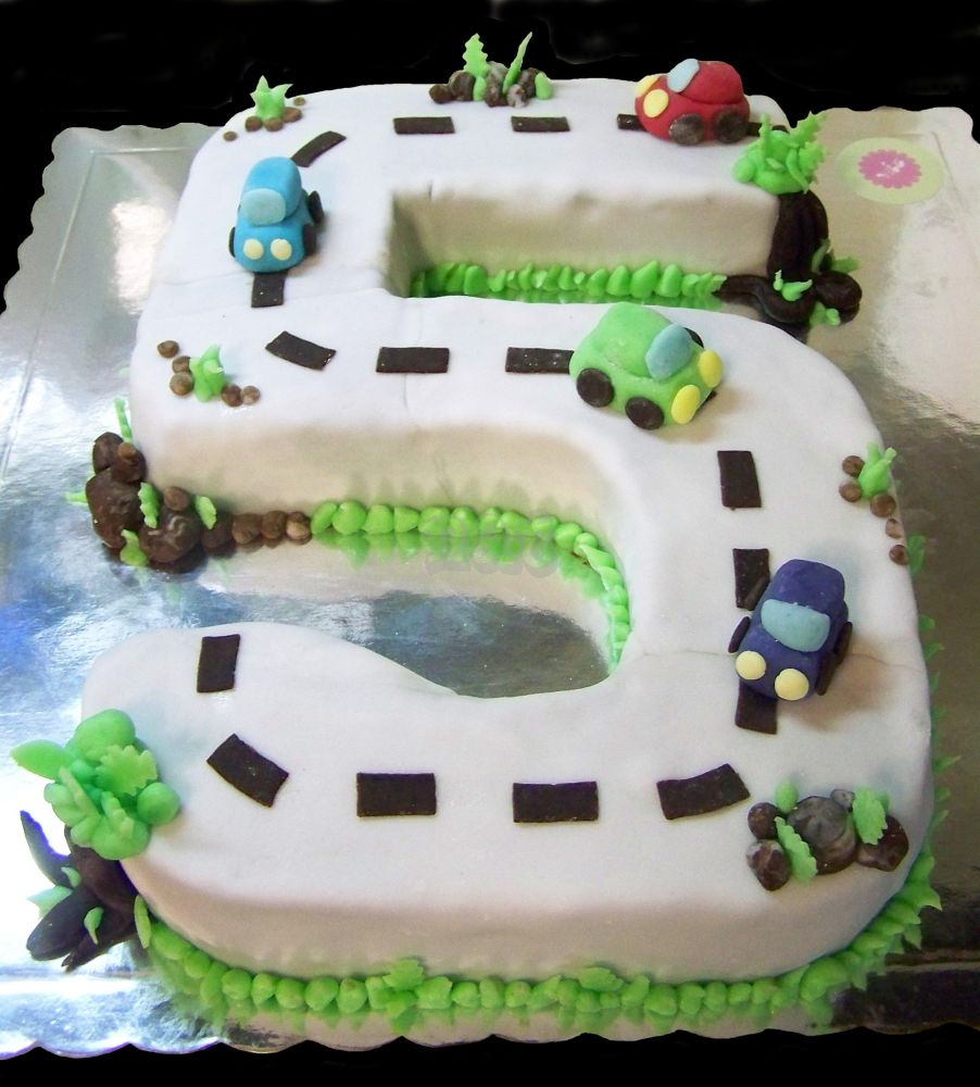 Number 5 and cars cake