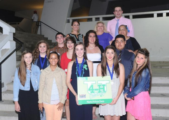 Natchitoches Parish 4-H members attending 4-H University at LSU this summer were: (front row) JordanRodriguez, Karmel Davenport, Jill Wiltz, Abigail Gardener, Mikalynn Burns. (second row) Danielle Settle,William LaCaze, Kate Dickson, Rachel Rachal, Corey Gallion. (back row) Gwen Fontenot, 4-H Agent; Fredda Burns,adult volunteer; Randall Mallette, County Agent, and Connie Gallion, adult volunteer. Jill Wiltz, NatchitochesCentral High School student, was named as a National 4-H Conference Delegate and elected as State 4-H VicePresident for the upcoming school year. Jordan Rodriguez, also a student at Natchitoches Central High School, was named to the Food and Fitness Board, and Kate Dickson, from St. Mary's, was named to the Science,Engineering, and Technology Board.