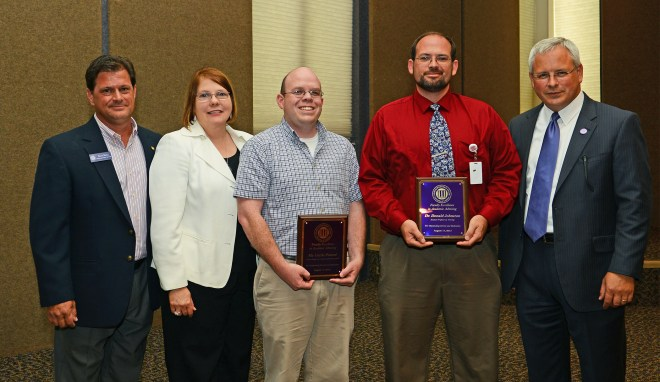 Northwestern State University recognized two members of the faculty with Excellence in Academic Advising Awards. From left are Steve Hicks, director of Academic Advising Services; NSU Provost and Vice President for Academic Affairs Dr. Lisa Abney, honorees Curtis Penrod and Dr. Donald Johnston and NSU President Dr. Jim Henderson. Penrod and Johnston were lauded for their helpfulness and accessibility to the students they advise.