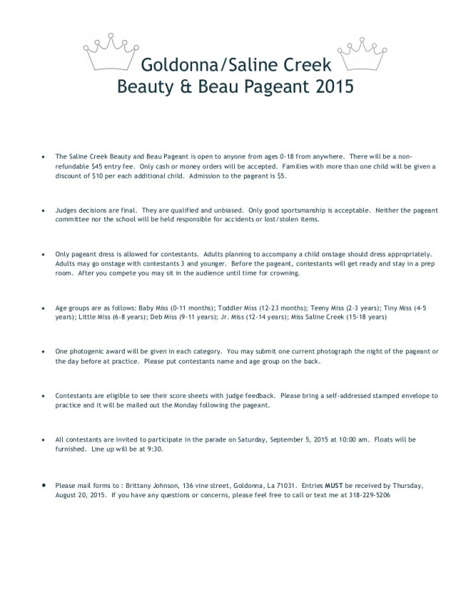 PAGEANT RULES
