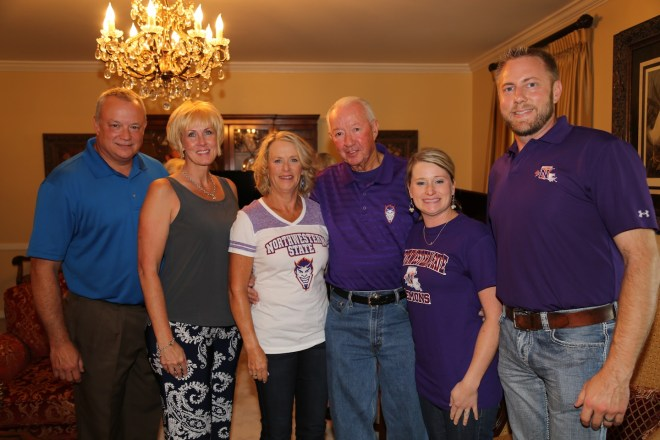 Members of the Pierce family were present for the celebration.  From left are son Randy and wife Beama Pierce, Regina and Jerry Pierce with step-daughter Natalie and Keith Ducote.