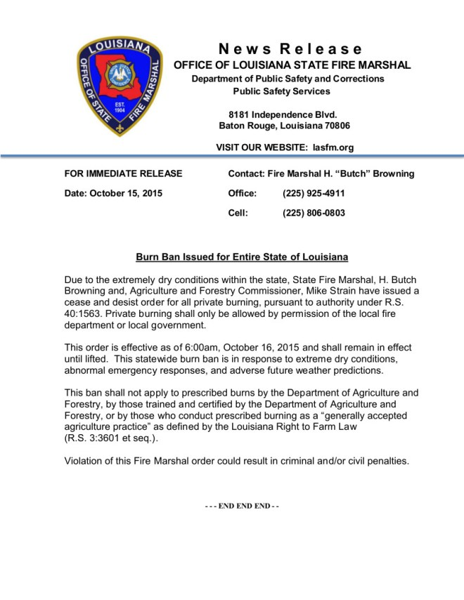 Burn Ban - Statewide 10.15.15