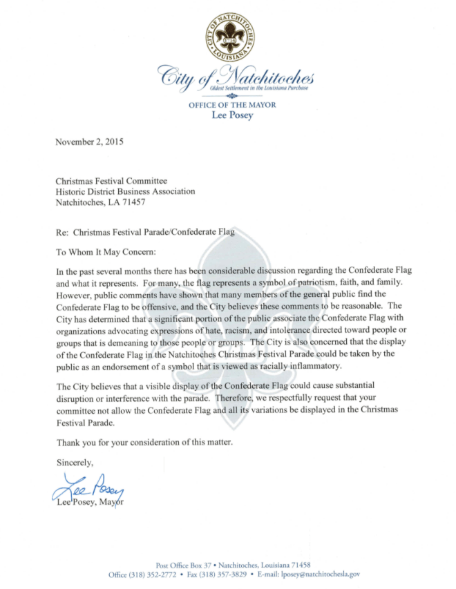 Flag Letter - Mayor Lee Posey