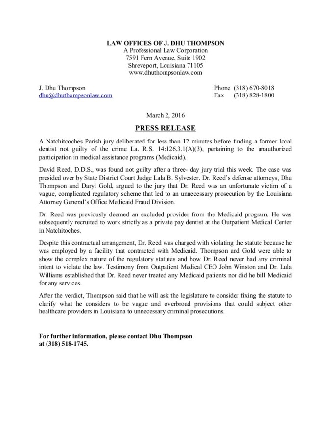 Press Release state V Reed