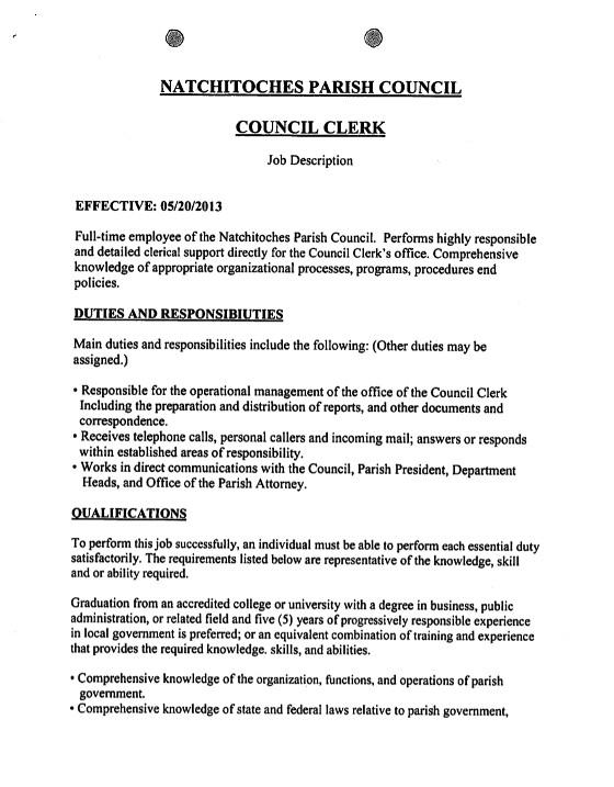 Natchitoches Parish Council Clerk Job Description1