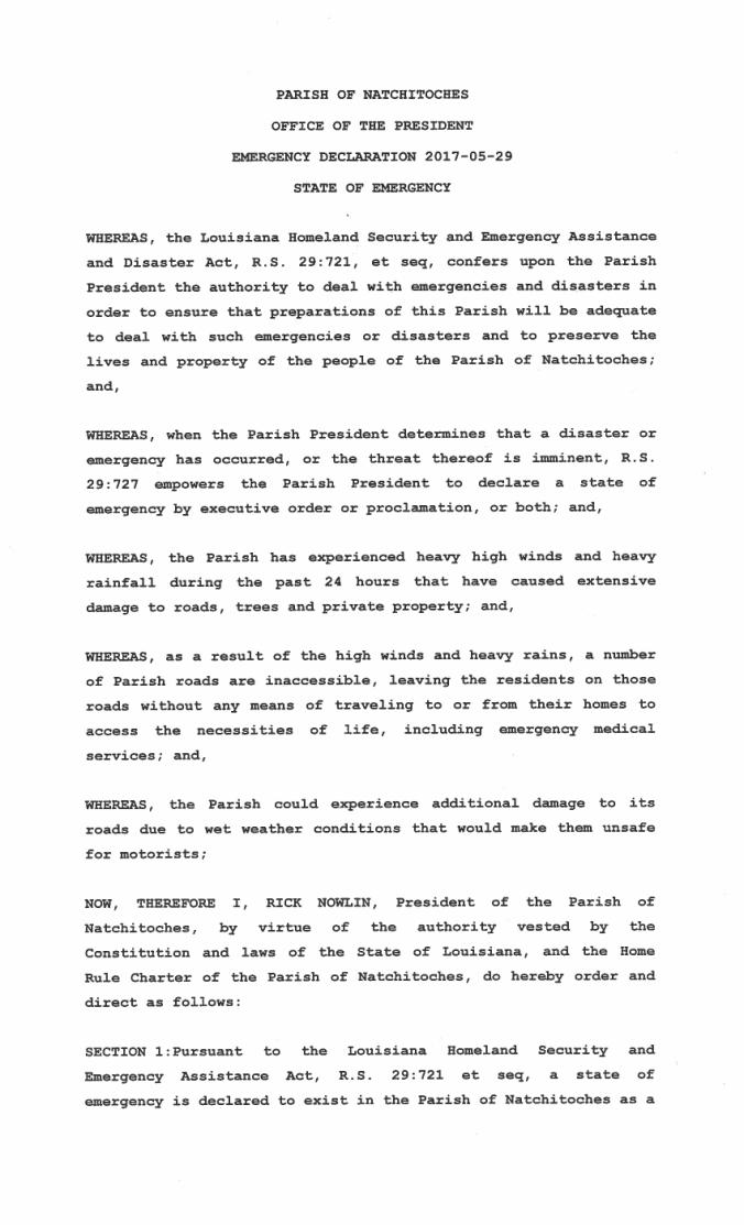 Emer Declaration - Weather 2017-05-291