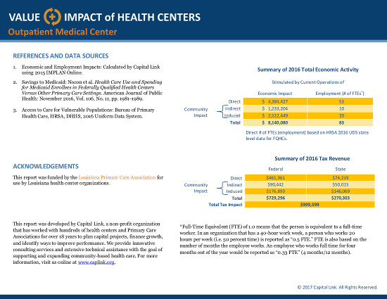 Outpatient Medical Center - 2016 Value & Impact1