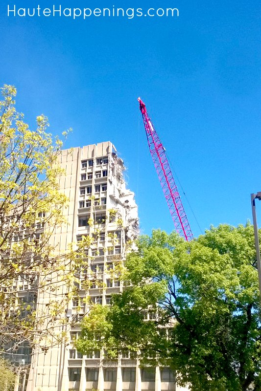 Watching the demolition of the Statesman Towers at Indiana State University