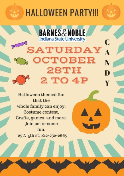 Kid-friendly Halloween Party in Terre Haute at ISU Barnes and Noble