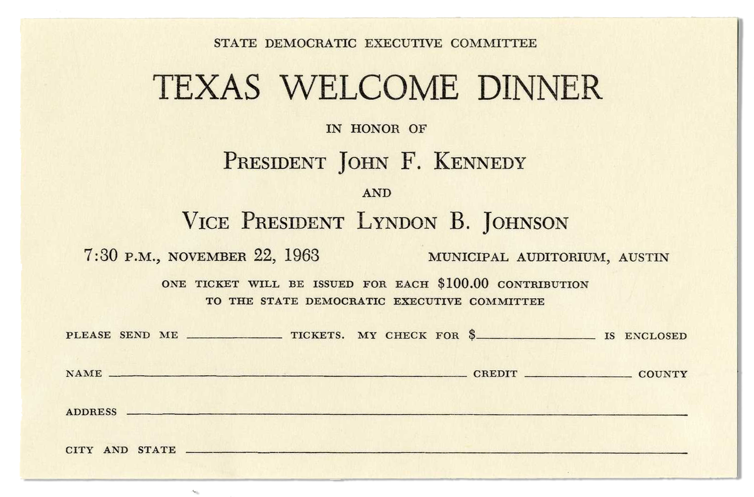 Lot Detail JFK Texas Welcome Dinner RSVP Card