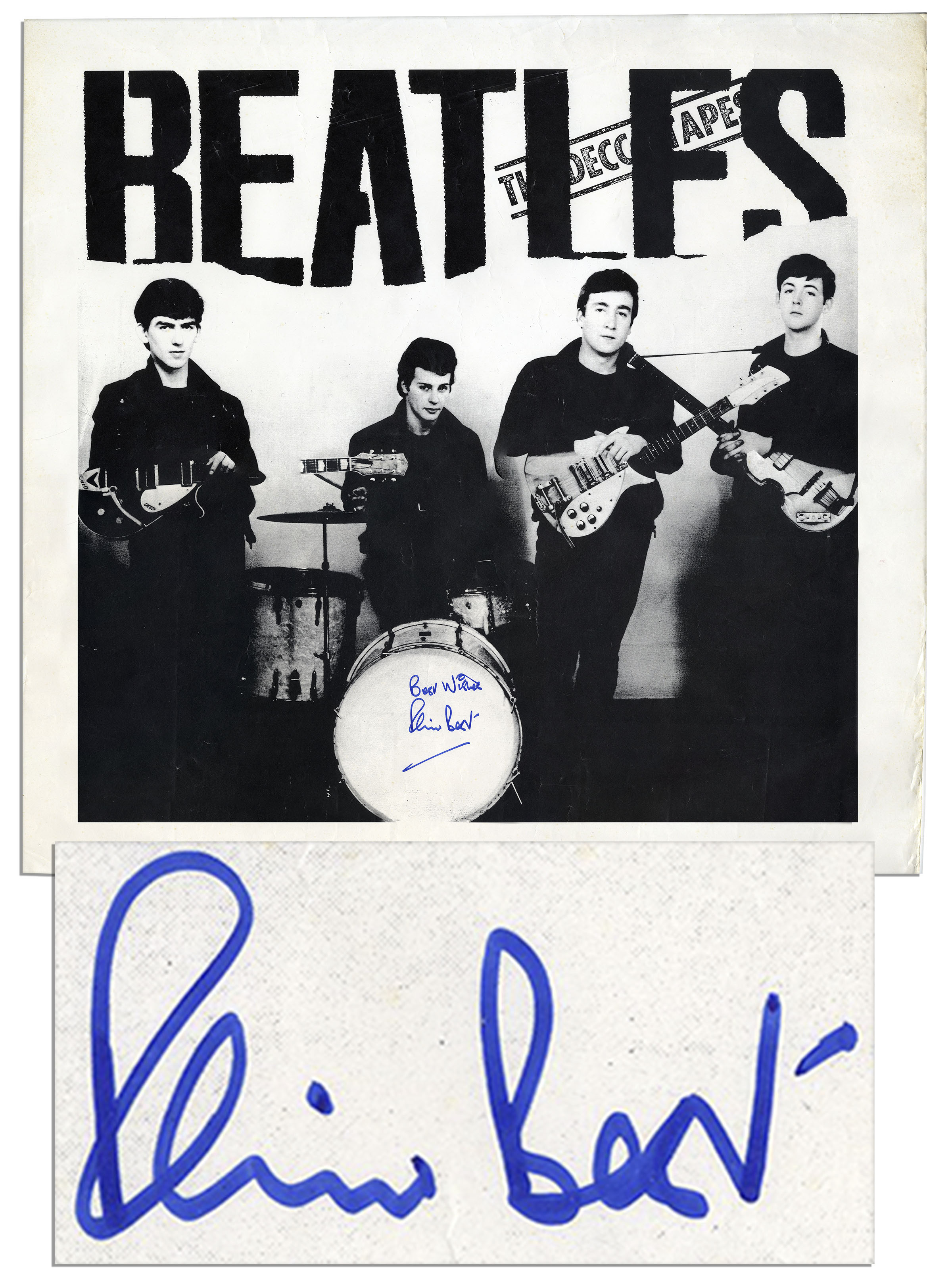 lot detail beatles poster signed by