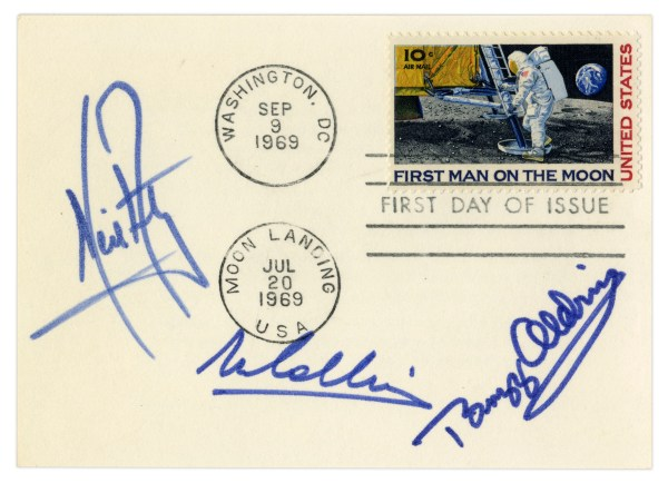 Lot Detail Apollo 11 First Day Cover Boldly Signed by
