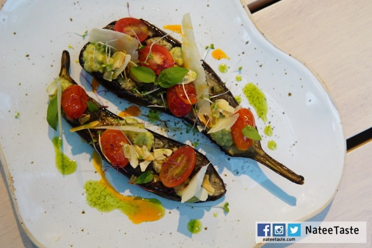 Eggplant (v) (Basil, Zucchini puree, Tomato, Almond, Tapenade) 180THB