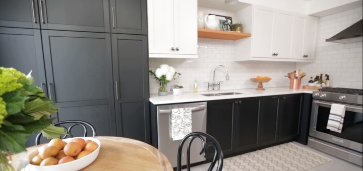 Small Kitchen Makeover On A Budget: Two Tone Cabinets
