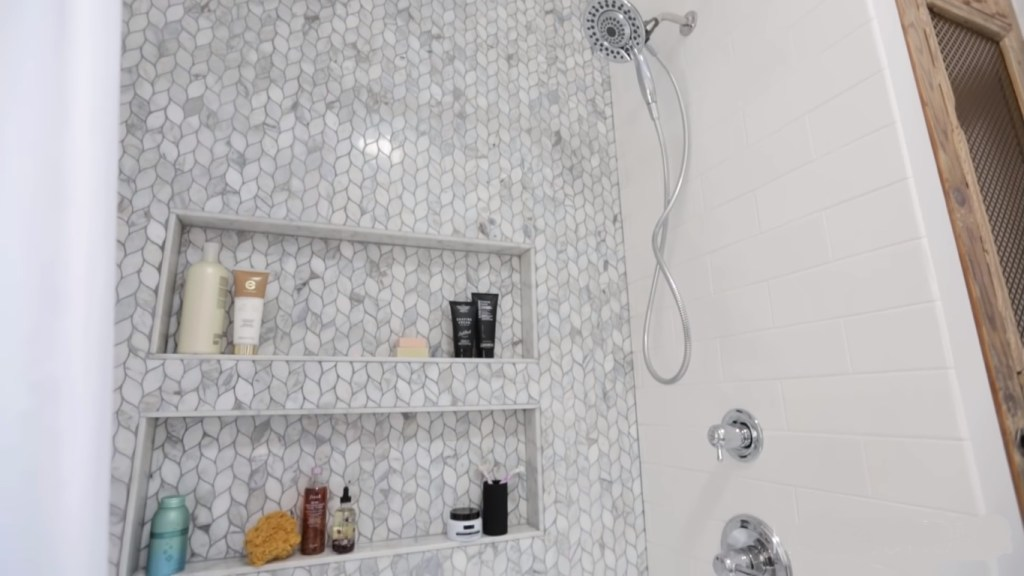Grey and White Bathroom wall