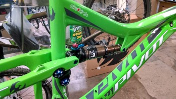 I flipped the Fox Kashima shock so the lever is easier to flip and water bottles don't get in the way when on the trail. It's the small details....