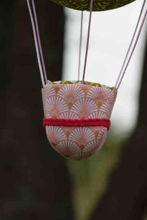 Panier de montgolfière déco, en tissu imprimé . Atelier à Villefranque (64)