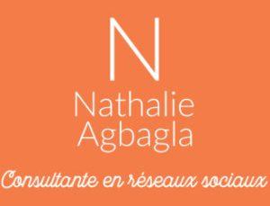 Logo Nathalie Agbagla, Consultante en réseaux sociaux - blanc sur fond orange