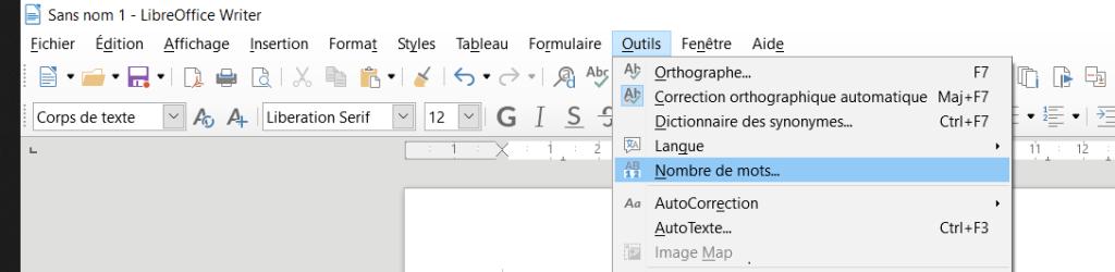 """Onglet """"Outils"""" puis cliquer sur """"Nombre de mots"""" dans le menu déroulant."""