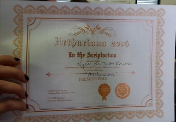 Réenchanter le monde - diplôme gagné par mes élèves