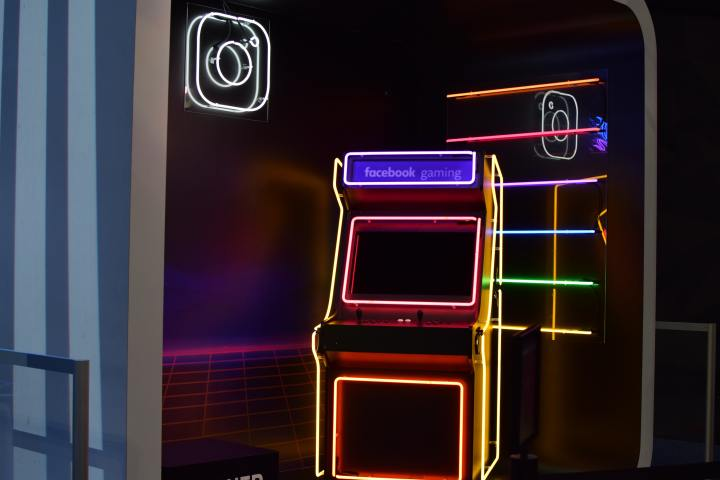 photo of arcade console with neon lights