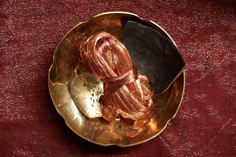 Copper and tin used for making stone polished bronzeware at Ban Bu Bangkok Thailand