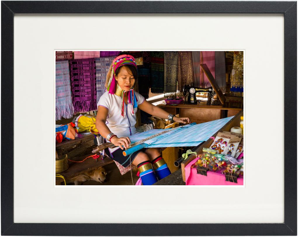 Photo of fine art print Padaung Woman on display.