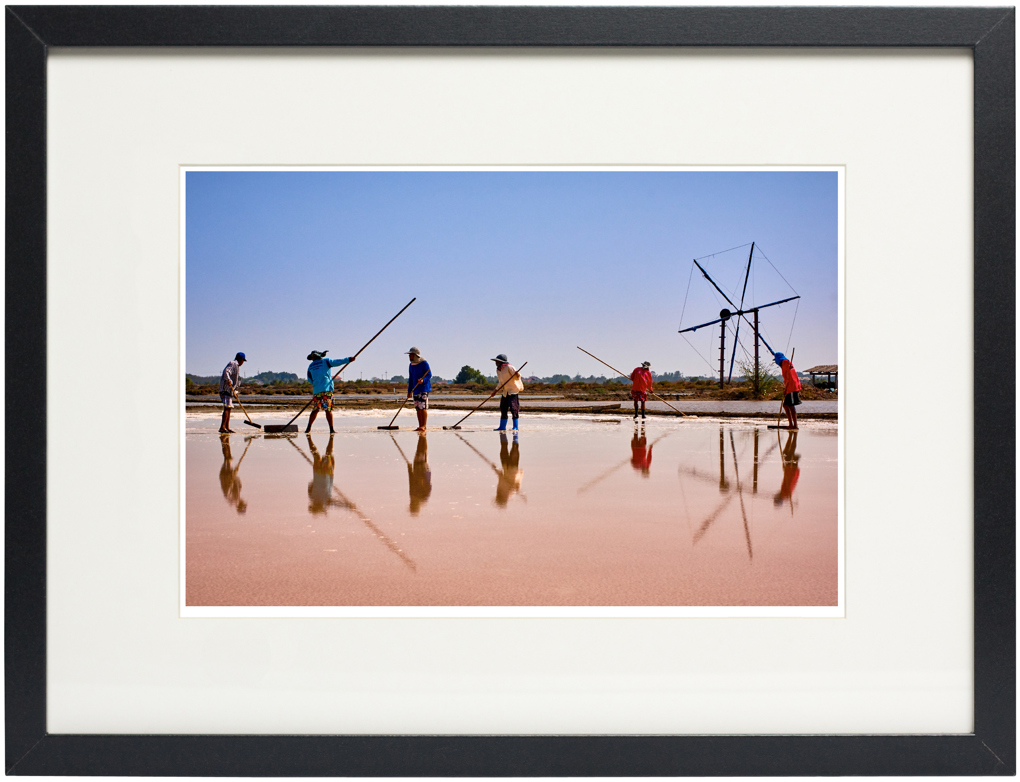 Photo of fine art print, Salt farmers of Samut Sakhon on display.