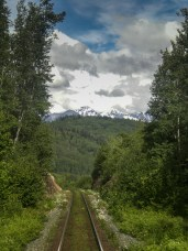 The view looking back from the train travelling between Prince George and Prince Rupert