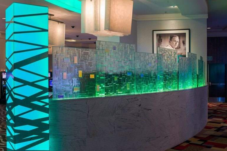 Citadel Dichroic kiln formed glass partition
