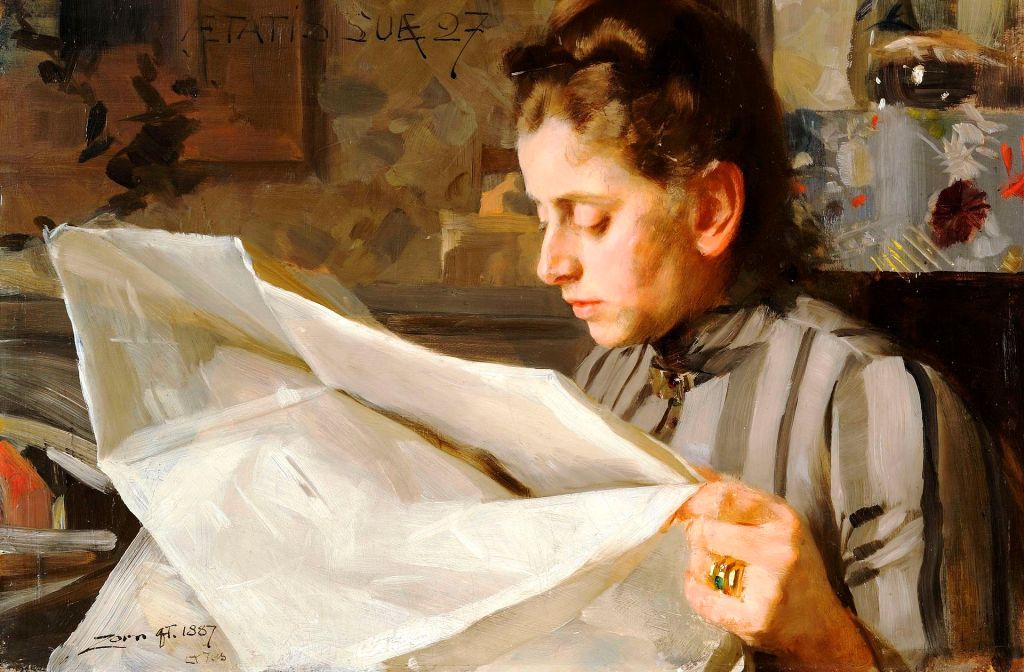 Painting of a woman reading a newspaper