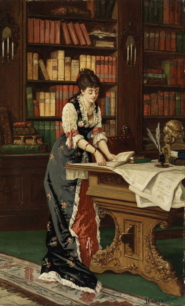 Painting of a woman with a book in a library