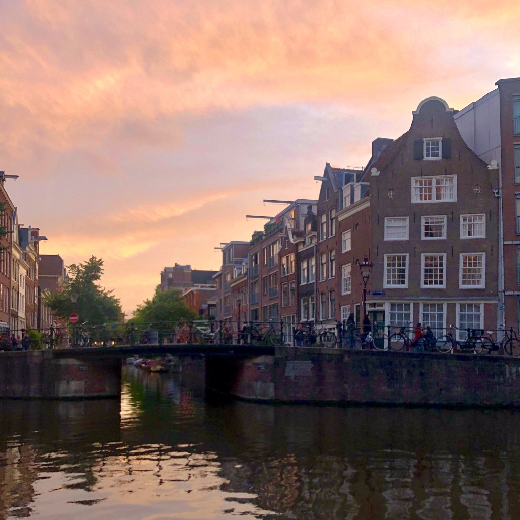 Photograph of the canals of Amsterdam at sunset