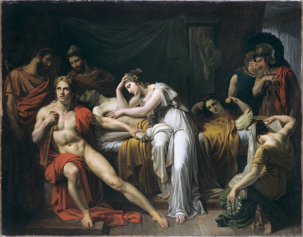 A painting of Briseis with the body of Patroclus